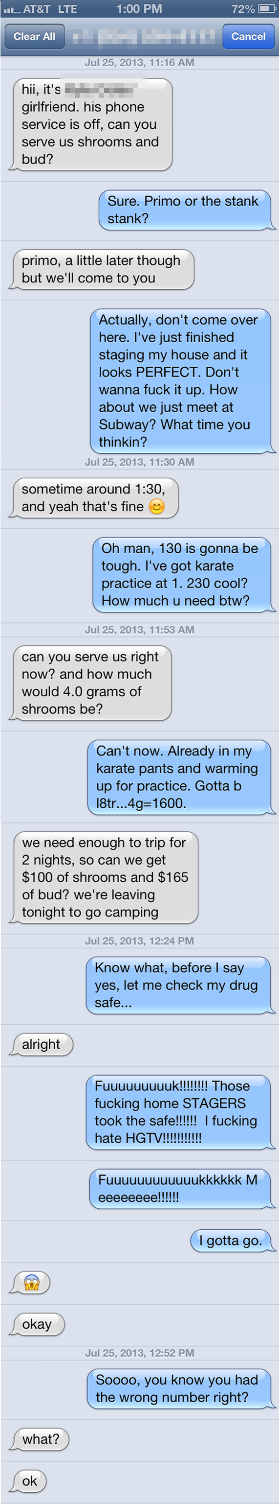 A guy received a wrong number text from someone looking to buy drugs. His response was beyond perfect.