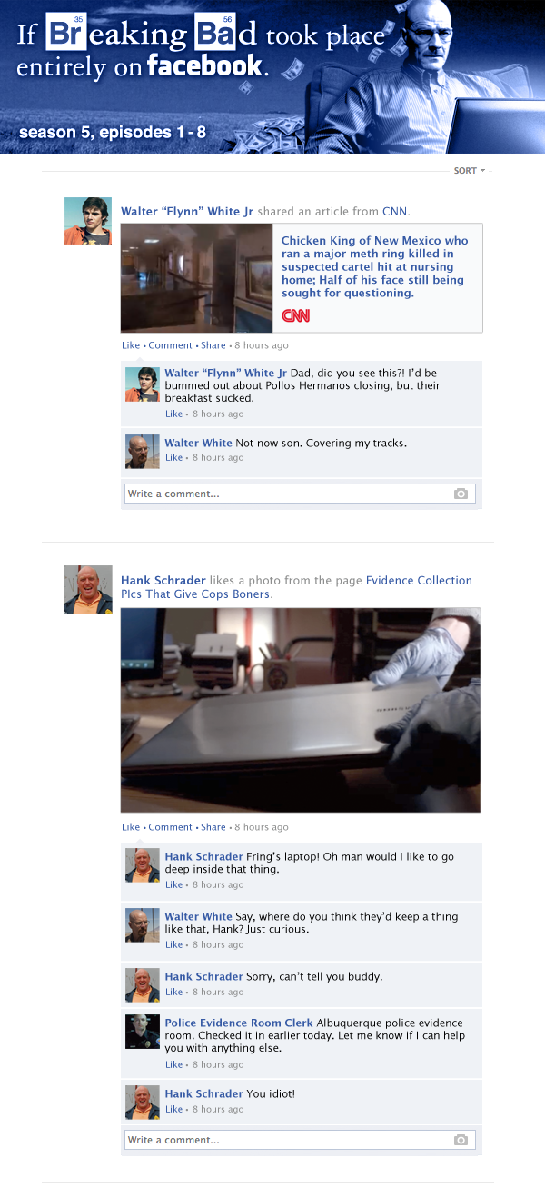 If Breaking Bad took place entirely on Facebook - A recap of the first half of Season 5.
