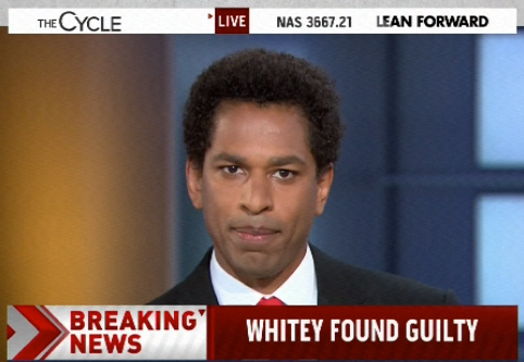 Announcement of Whitey Bulger verdict results in wonderfully inappropriate screen caption on MSNBC.