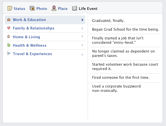 26 Facebook Life Events That Should Totally Exist