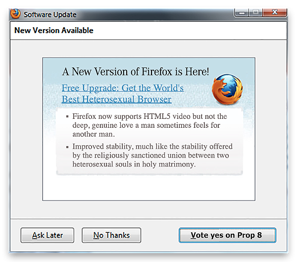 Firefox CEO's Homophobia Now Spreading To Browser Updates