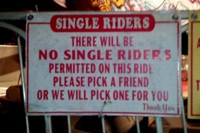 Amusement park ride discriminates against the pathetically unpopular.