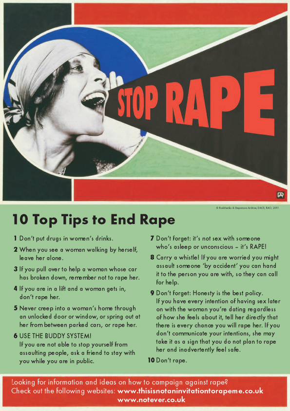 Poster explains how to not rape.