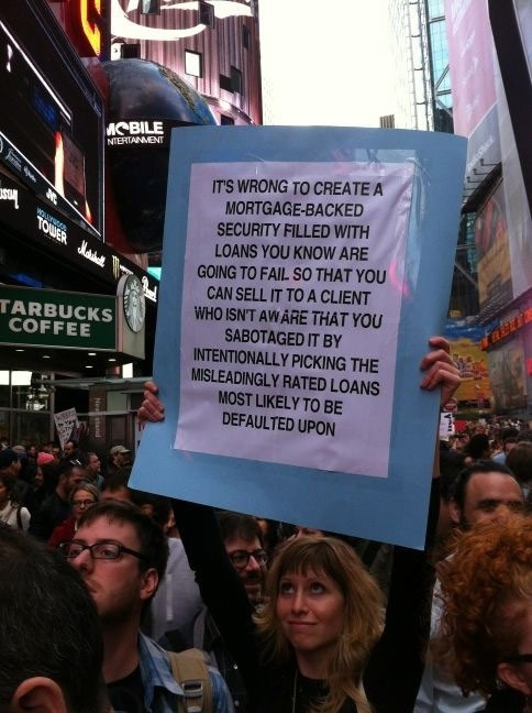 The most enjoyably effective protest signs at Occupy Wall Street.