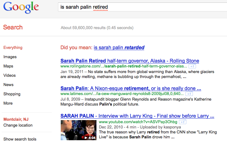 Google initiates a search for signs of Sarah Palin's intelligence.