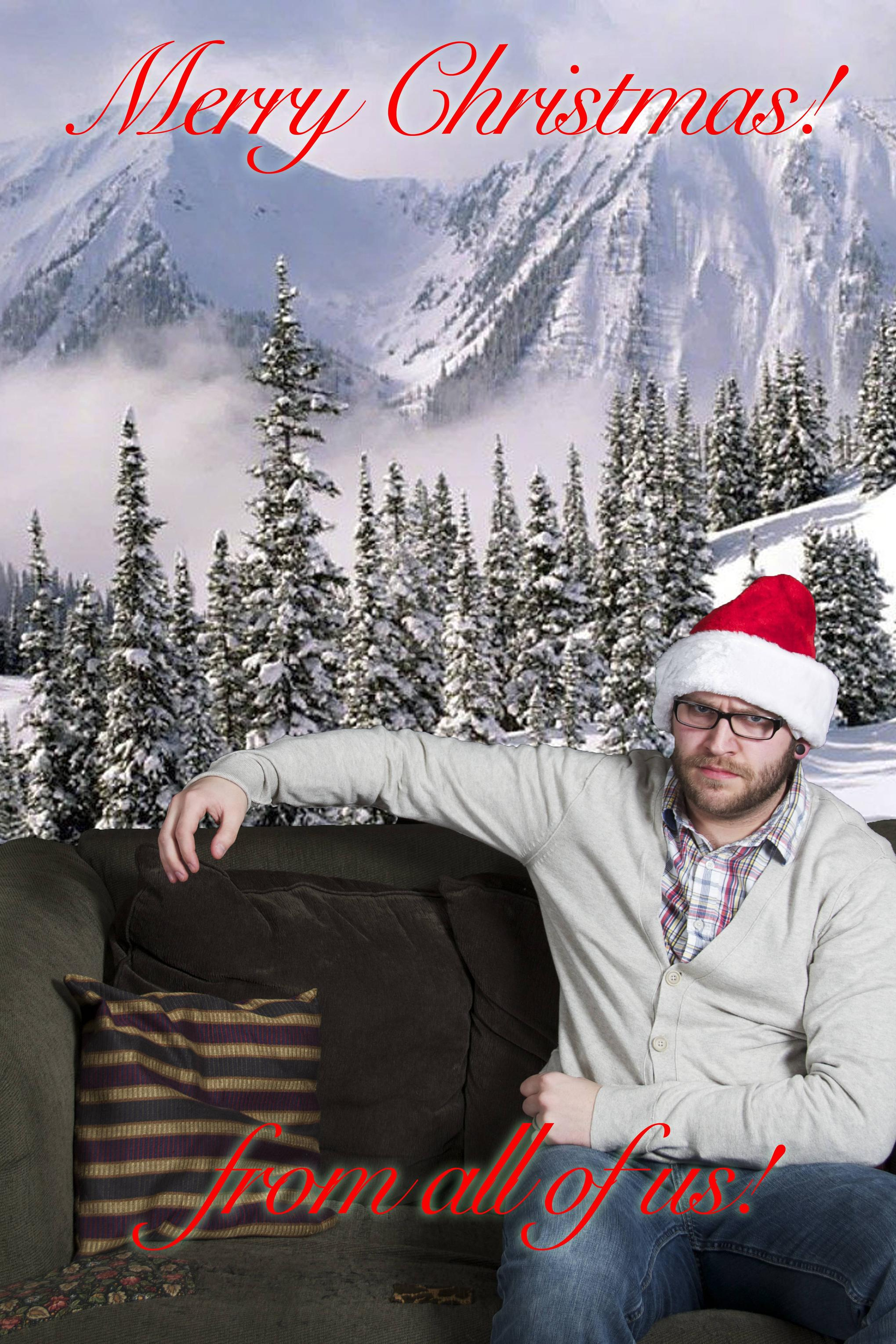 Man creates perfect Christmas card to commemorate being left by his wife.