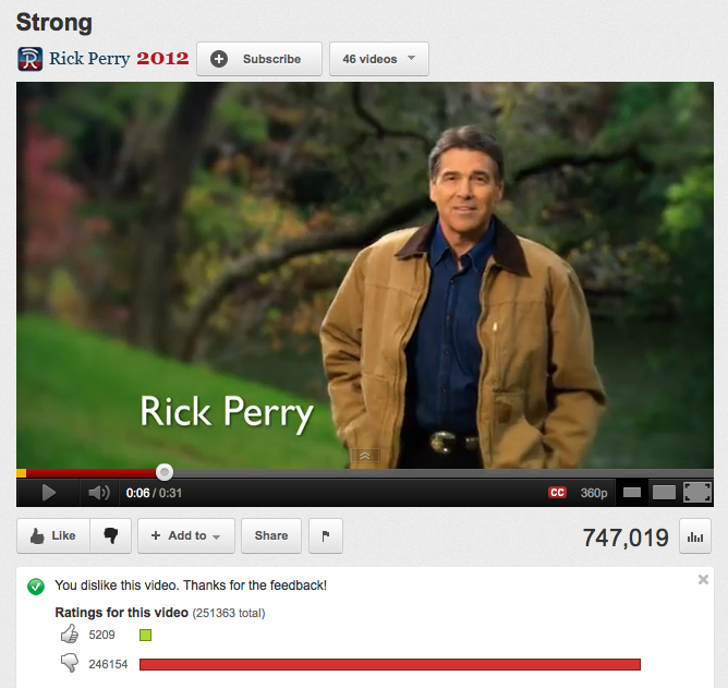 VOTE NOW! New Rick Perry ad has him surging past longtime front-runner in YouTube dislikability.