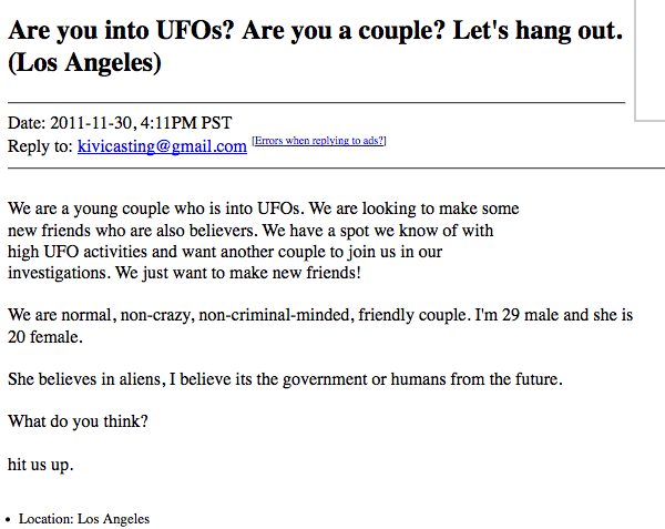 Craigslist ad seeks couple for completely insane UFO-themed double-date.
