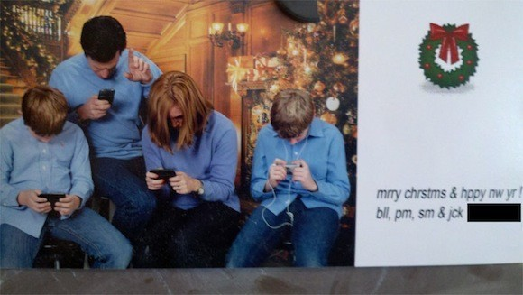 the perfect family christmas card to send when you love your iphone more than your family - When To Send Christmas Cards
