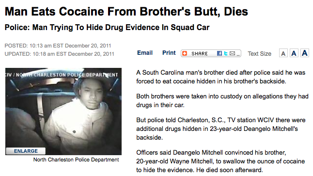 The least gangsta way to die during a drug bust.