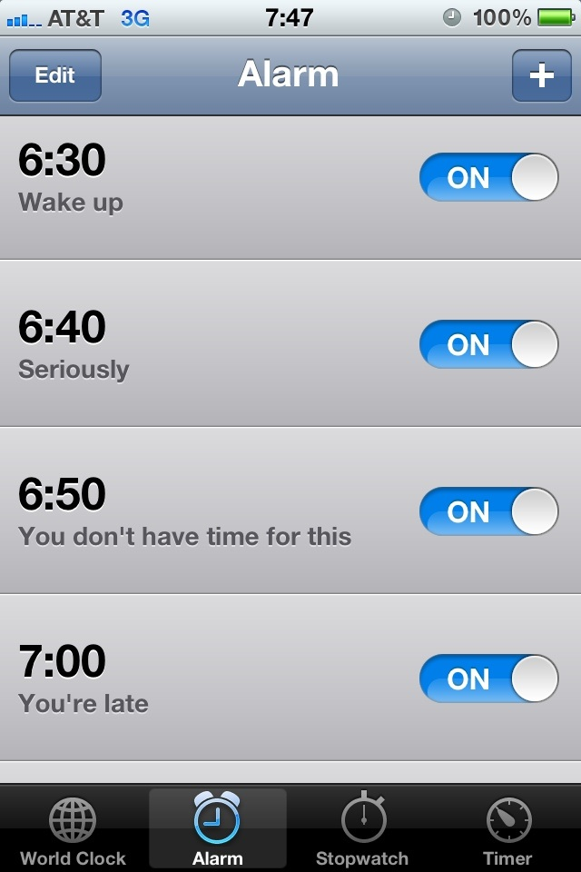 How to use your iPhone to berate yourself awake in the morning.