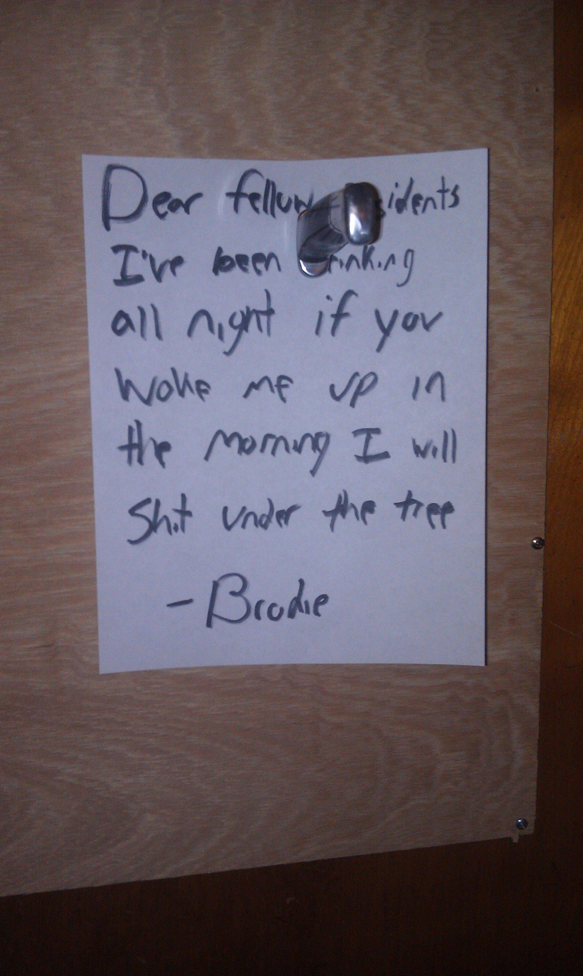 Hungover roommate leaves note threatening worst Christmas present ever.