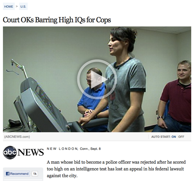 Why you should start slacking off at school if you ever want to be a police officer.
