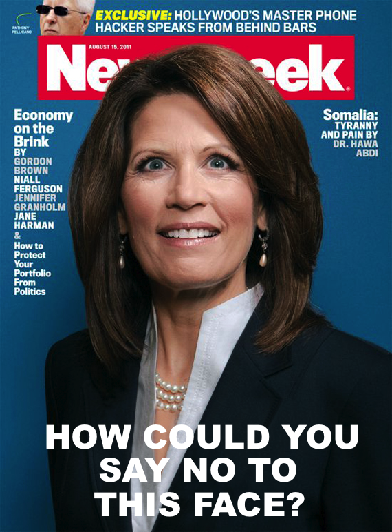 Possible Newsweek covers in response to Michele Bachmann suspending her campaign.