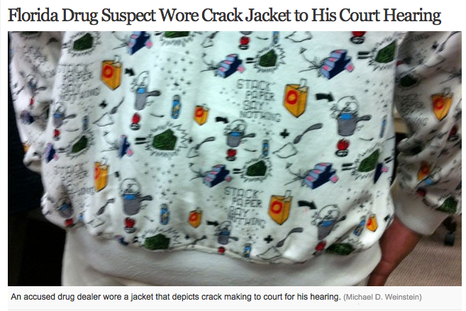 The worst possible time to wear a jacket covered in drug references.
