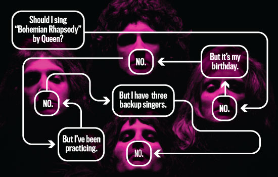 Flowchart explains a few important rules for your next karaoke night.