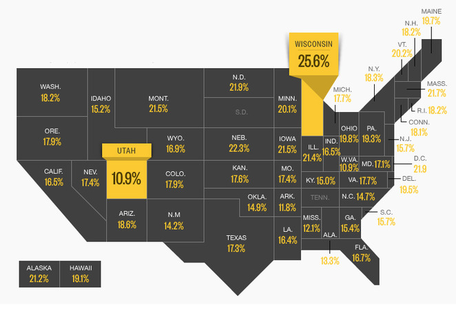 Plan your weekend with this map of the drunkest states in the U.S.