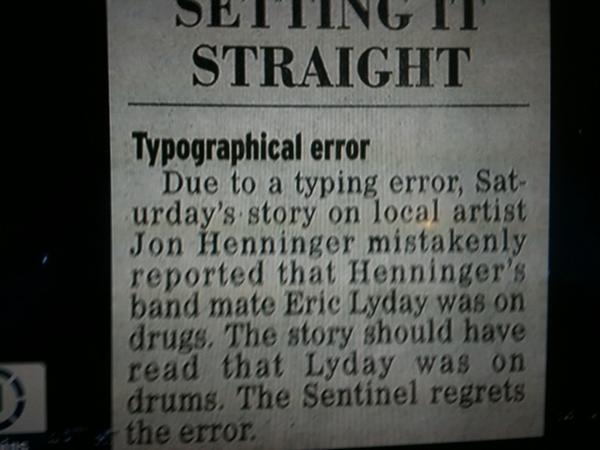 Newspaper's typo about musician reveals what everyone already assumes about musicians.