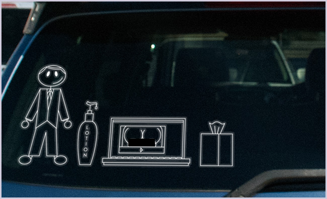 A car window decal that lets people know your sperm isn't being used for creating a family.