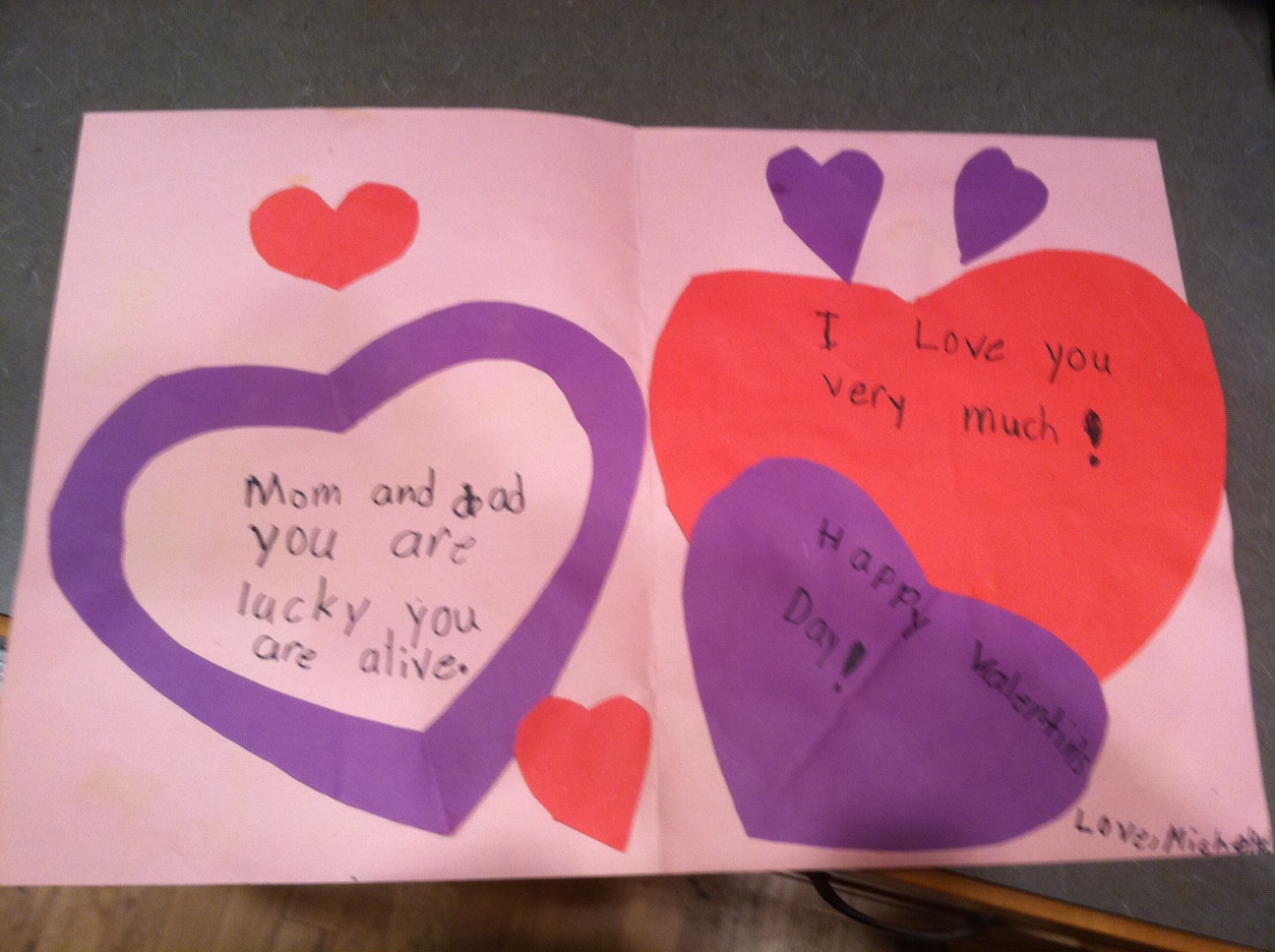 The most unintentionally threatening Valentine's Day card ever written by a child.
