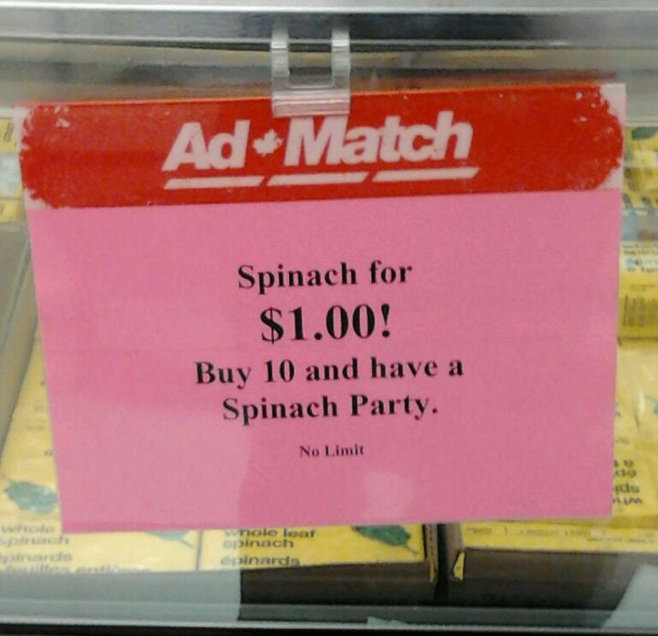 Grocery store advertises the lamest party imaginable.