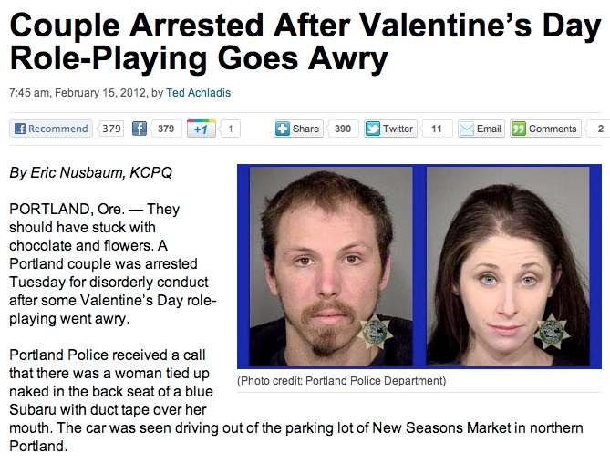 How Valentine's Day role-playing got two people arrested.