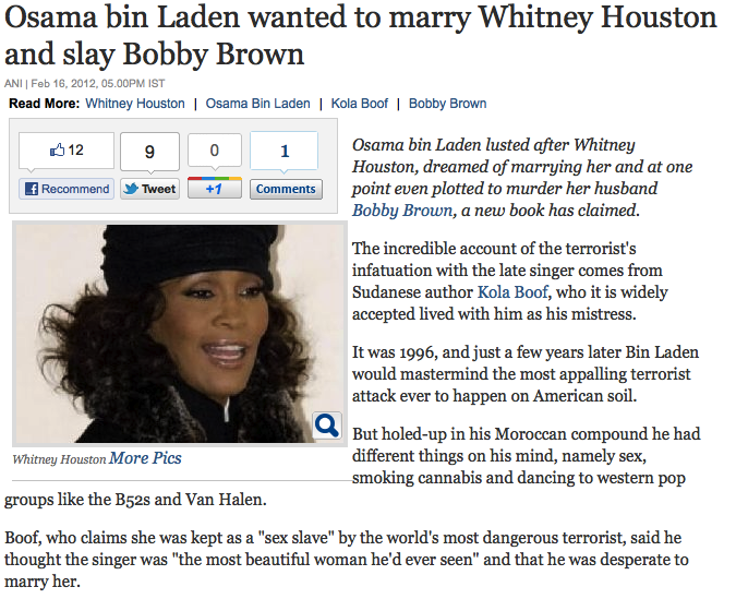 The weirdest possible headline connected to Whitney Houston's death.