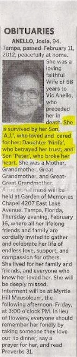 The most ridiculously passive-aggressive obituary ever written.