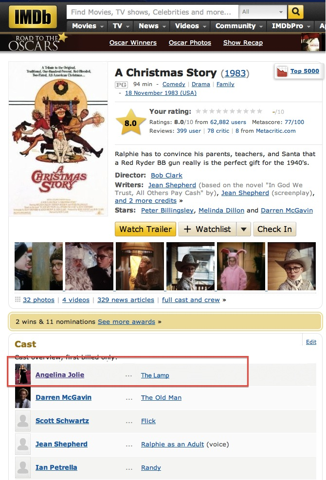 IMDB reveals that last night was not the first time we've seen Angelina Jolie's leg.