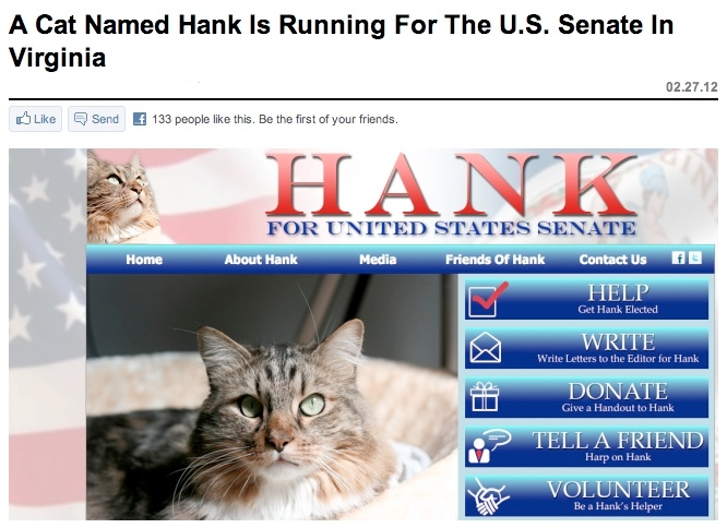 Meet the one political candidate the internet would elect in a landslide.