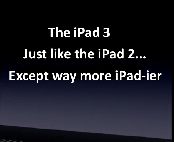 Get an exclusive first look at today's shockingly obnoxious presentation of the iPad 3.