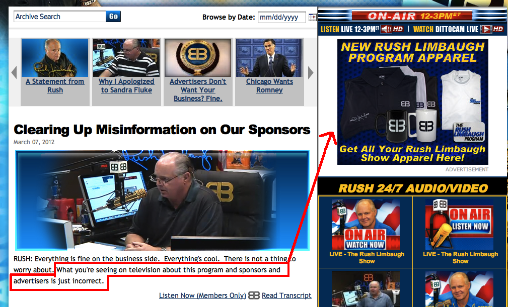 See the sole remaining advertiser on Rush Limbaugh's website.