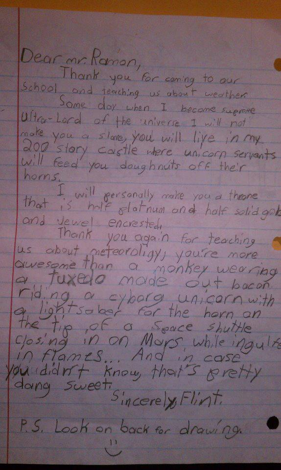 The most insane letter ever written by a child to a TV weatherman.