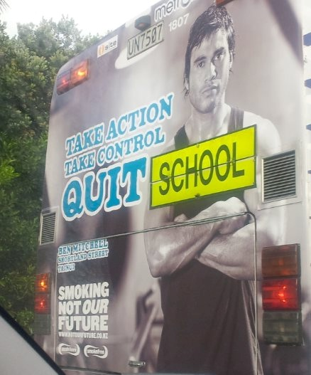 School bus ad accidentally promotes not going to school.