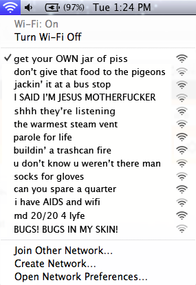 What the Homeless Hotspots at SXSW would look like in your list of WiFi connections.