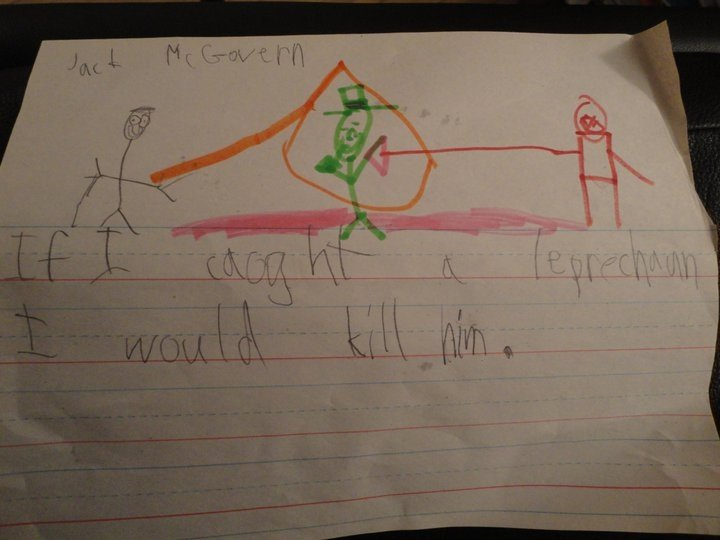 Child's drawing serves as grim St Patrick's Day warning.
