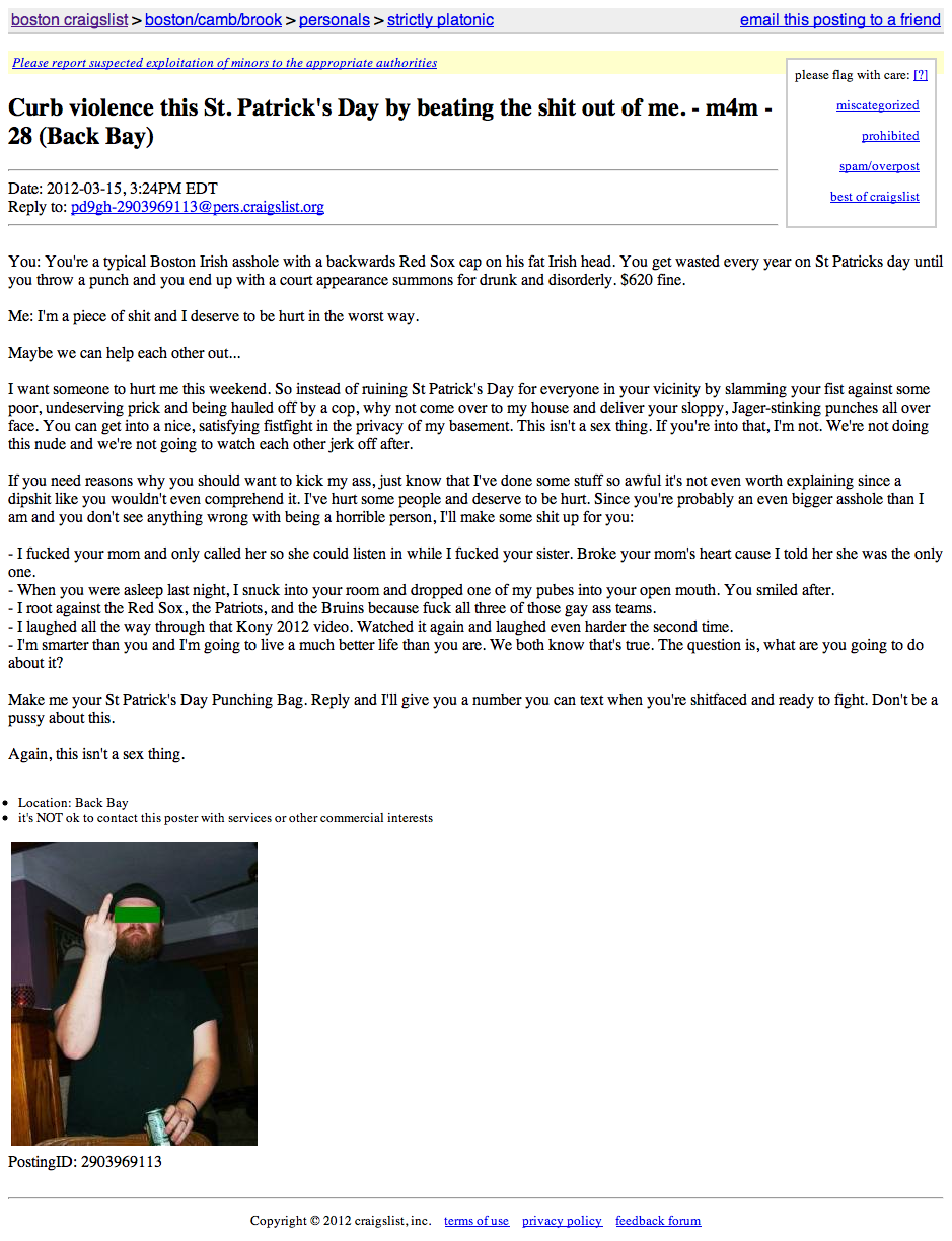 Man on Craigslist seeks someone to beat him senseless this St. Patrick's Day.