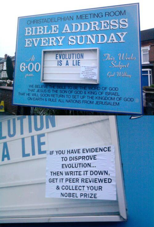 Church sign defaced with extremely helpful idea for creationists.