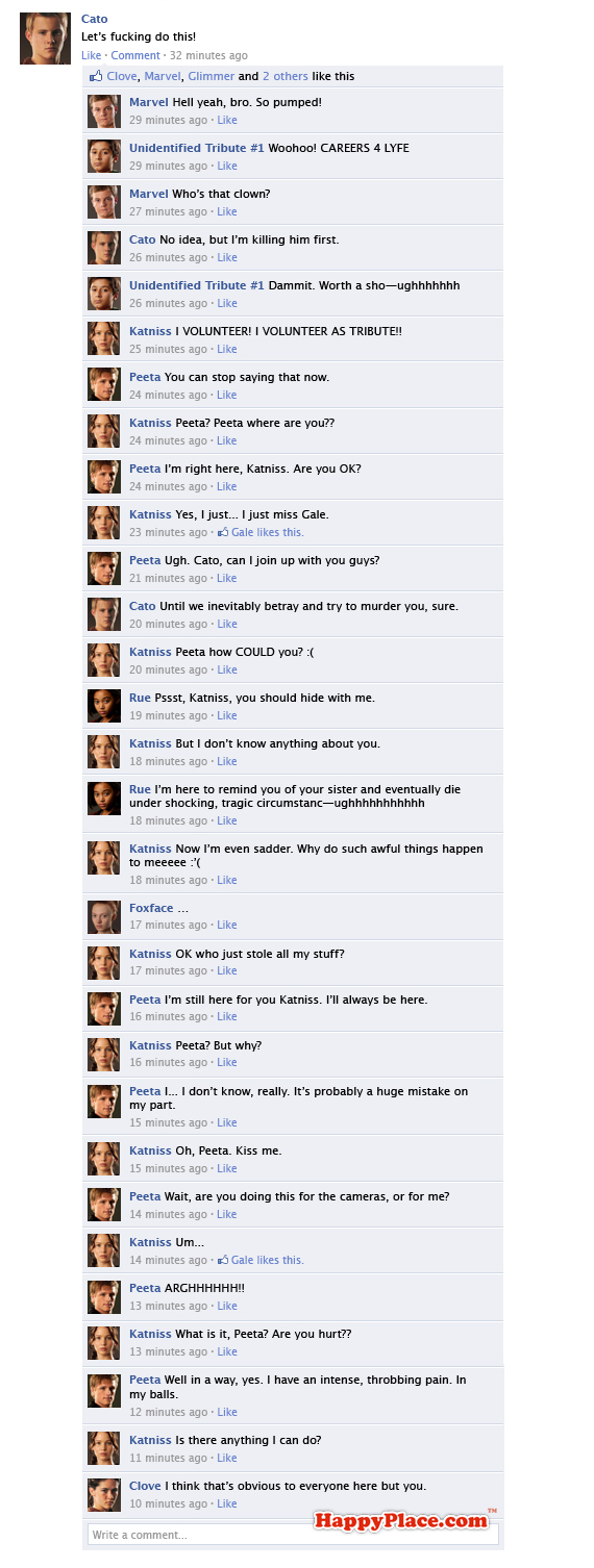 If the Hunger Games tributes fought it out on Facebook.