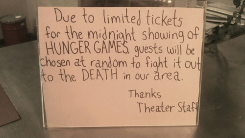 Movie theater uses cruel new admissions policy for sold-out Hunger Games screenings.