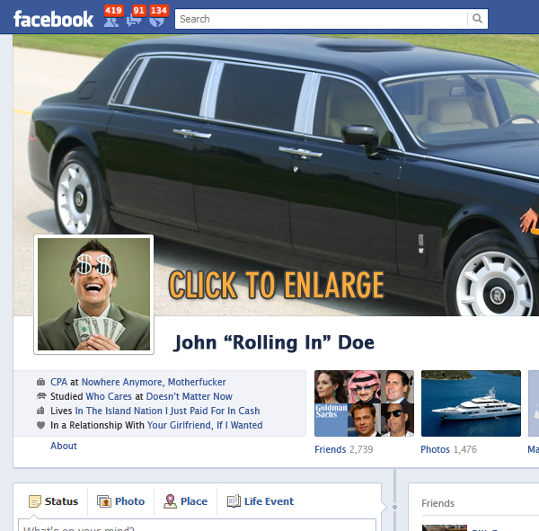 What your Facebook page would look like if you won the Powerball jackpot.
