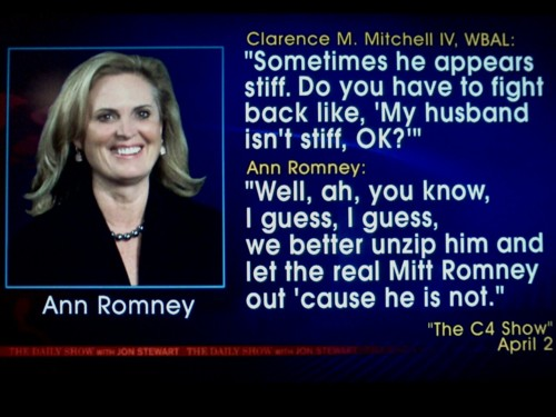 Mitt Romney's wife inadvertently comments on state of husband's genitals.