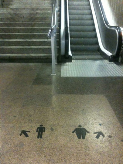 How to shame the overweight into taking the stairs.