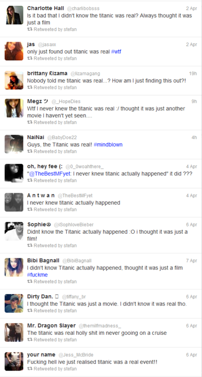"""What it looks like when """"Titanic"""" fans find out the sinking of the Titanic actually happened."""
