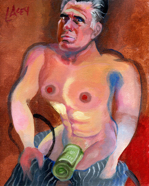 Painting of semi-naked Mitt Romney making love to money now available on eBay.