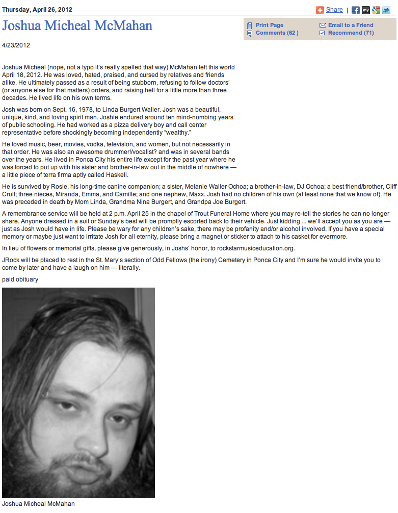 Dead man's hilarious obituary makes dying almost seem worth it.