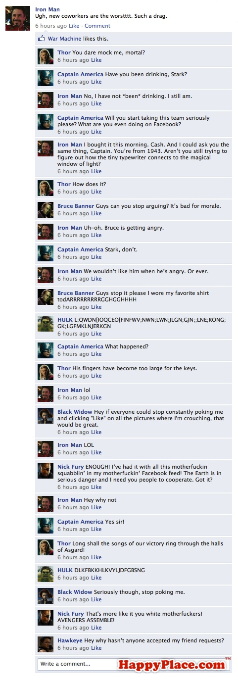 If The Avengers talked on Facebook.