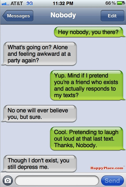 What socially awkward people are pretending to text during parties.