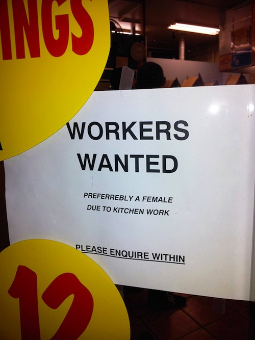 Help Wanted sign lures applicants with promise of sexism.