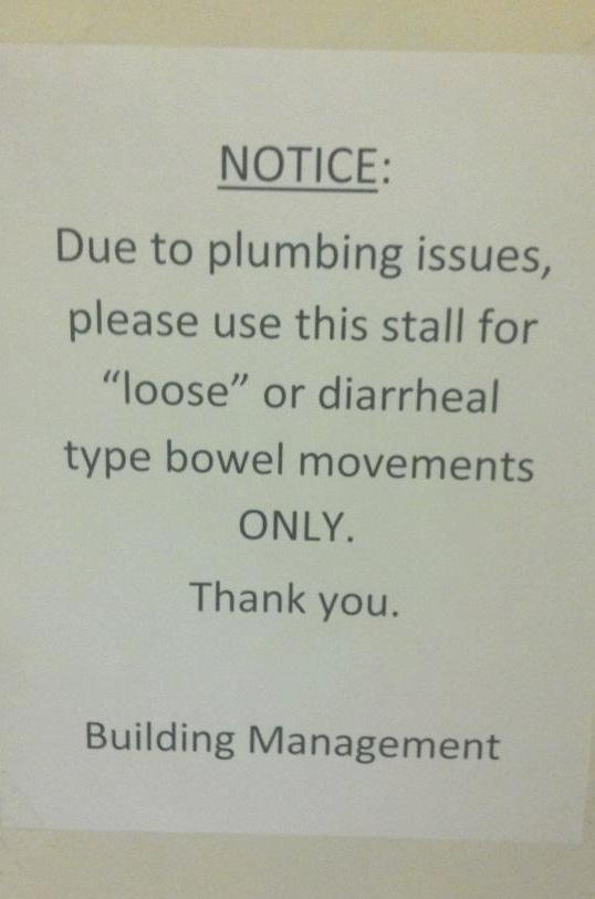Bathroom sign imposes unbelievably bizarre restriction.